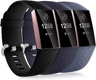 Dirrelo 3 Pack Bandjes Compatibel met Fitbit Charge 3/Fitbit Charge 4 voor Dames en Heren, Zachte Siliconen Verstelbare Ve...