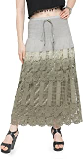 CAMEY Handwoven Crochet Romantic Boho Cotton Long Skirt in Solid/Gradient Colors Brown