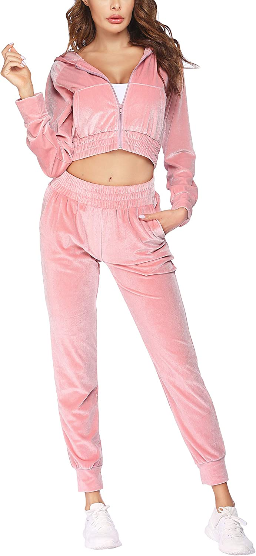 COOrun Velour Tracksuit Womens Zip Sweatsuits S Many popular brands Hoodie Sale Special Price Velvet Up