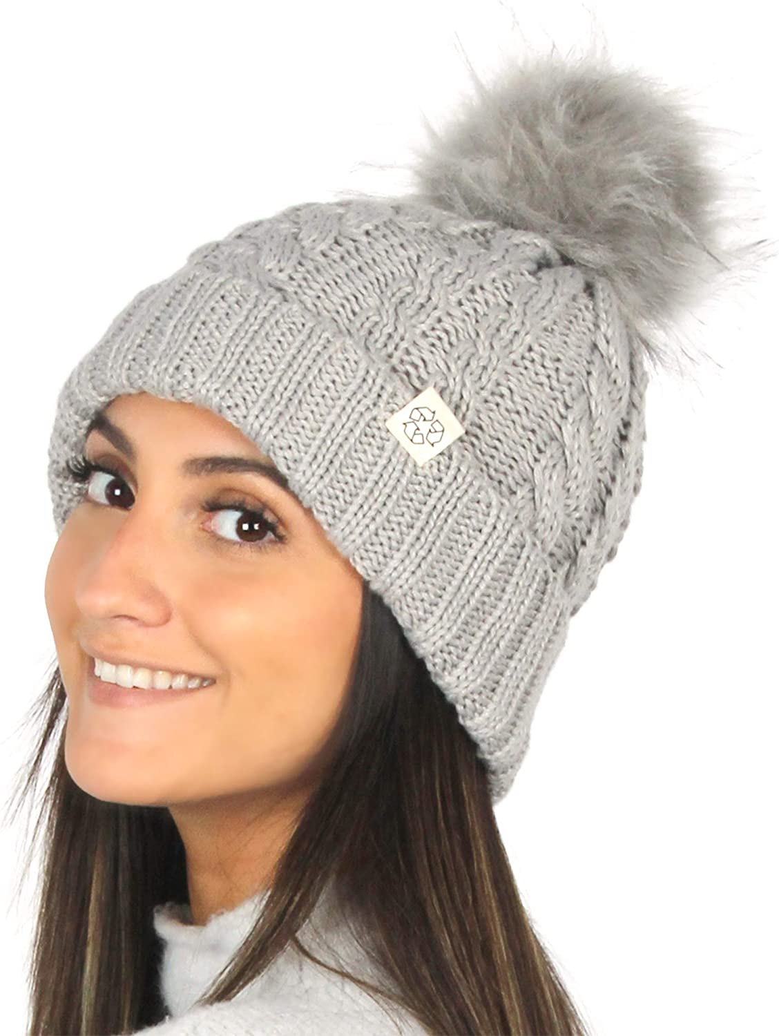 David & Young Sustainable Recycled Fashion Beanie with Extra Warm Fur Lining