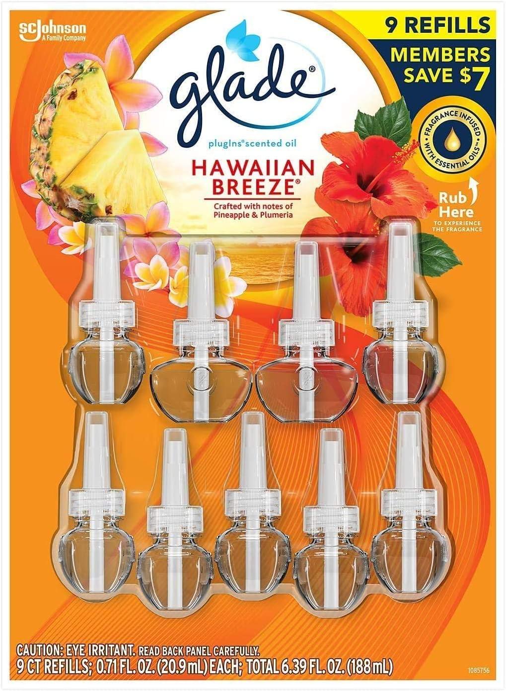Hawaiin Limited Edition PlugIns Scented Oils Refills 25% More 8 Ct-Hawaiian Breeze, Yellow [Glade]