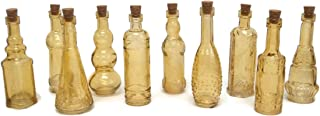 Terra Home Vintage Glass Bottles with Corks, Assorted, 5 inch, Set of 10, Amber
