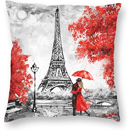 Amazon Com Ofloral Eiffel Tower Decorative Throw Pillow Cover Oil Paiting Romantic Love Autumn Maple Pillow Case Square Cushion Cover 18 X18 Red Grey Home Kitchen