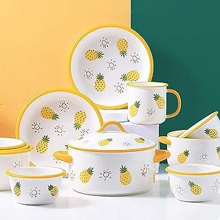 ywewsq Ensembles de Table en céramique, série Ananas Ensemble de Vaisselle en Porcelaine de 25  Marmite avec Couvercle Bo...