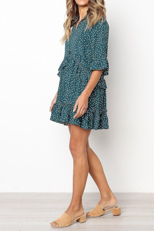 MITILLY Women's V Neck Ruffle Polka Dot Pocket Loose Swing Casual Short T-Shirt Dress