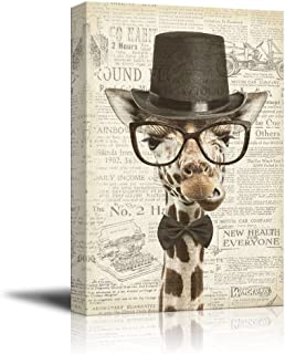 wall26 Creative Animal Figure on Vintage Paper Canvas Wall Art - Mr Giraffe - Giclee Print Gallery Wrap Modern Home Decor Ready to Hang - 16x24 inches