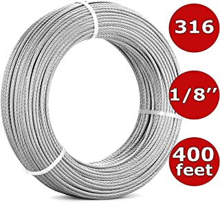 1/8'' Stainless Steel Cable Railing Kit 400FT (122m) | 7x7 Aircraft Cable for Deck Cable Railing Systems, Hardware, Deck Stair, DIY Balustrade