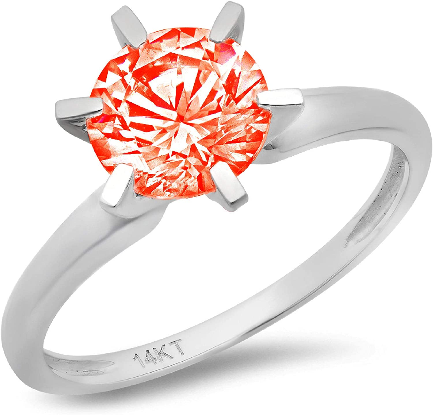 1.50 ct Round Cut Solitaire Hot Red Simulated Diamond CZ Ideal VVS1 D 4-Prong Engagement Wedding Bridal Promise Anniversary Ring Solid Real 14k white Gold for Women