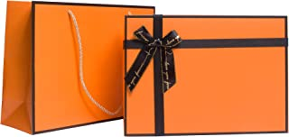 HuskyLove Luxury Gift Box&Bag Pack - Orange Gift Boxes and Bags Pack, with Lid and Shredded Paper Filler for Wedding, Birt...