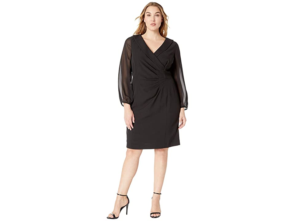 Tahari by ASL Plus Size Shawl Collar Dress with Chiffon Sleeves (Black) Women