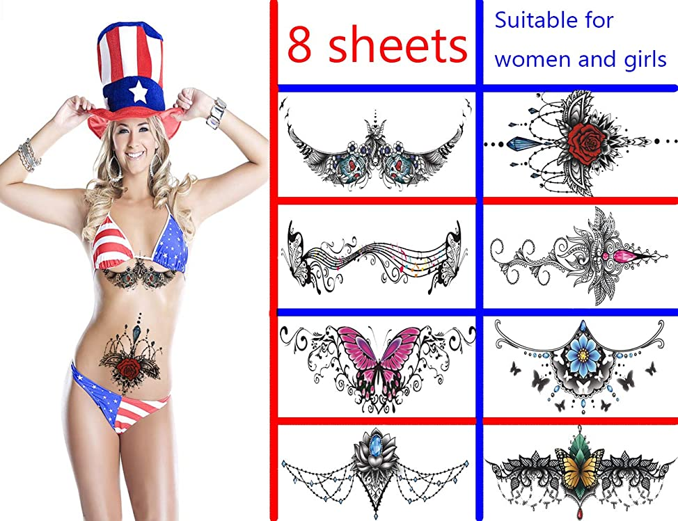 Temporary Tattoos Ms Fake Body Sleeve Jewelry Flash Design -Suitable for All Women Temporary Chest Tattoos- Painless Sexy Girl Tattoo,Kinky Tattoos,Suitable for Shoulder Back Waist-8 Sheets