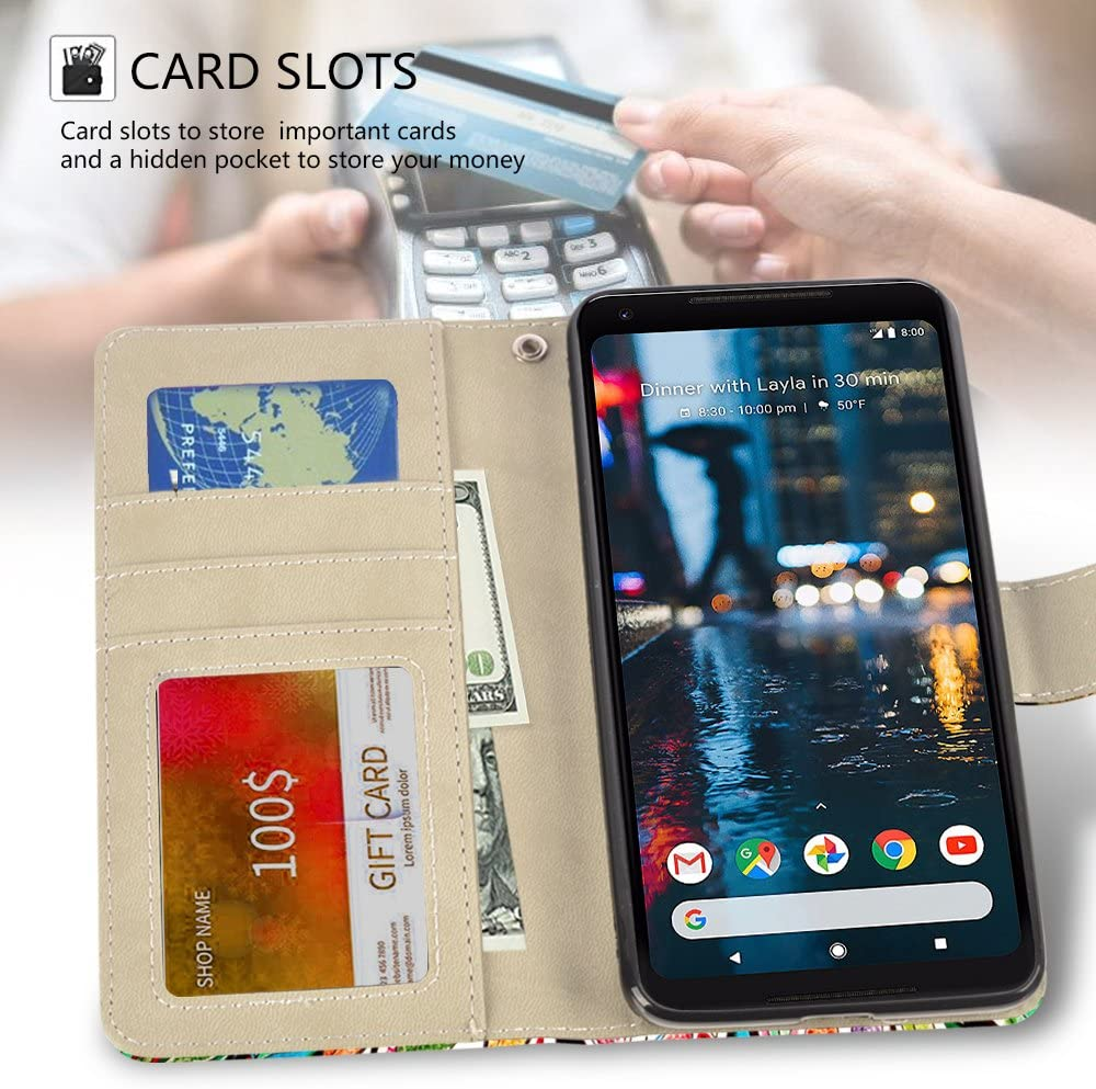 Google Pixel 2 XL Case, UrSpeedtekLive Google Pixel 2 XL Wallet Case, Premium PU Leather Wristlet Flip Case Cover with Card Slots & Stand Compatible Google Pixel 2 XL(2017), Love Tree