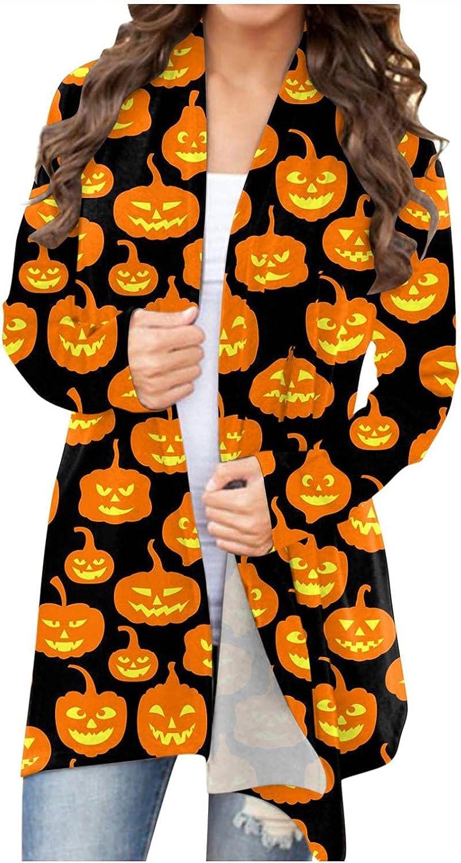 Halloween Cardigan for Women,Womens Cute Ghost Pumpkin Print Hoodies Sweatshirt Pullover Sweater Long Sleeves