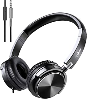 Vogek Headphones with Microphone, Foldable On Ear Headset Wired with Deep Bass, Adjustable Headband and Noise Isolation fo...