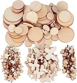 JNCH 200pcs Embellissement Tranches en Bois 4 Formes (Coeur + Rond + Etoiles + Papillon) Taille Mixte Disque Rondelle de B...