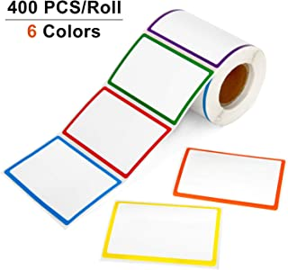 Blisstime 400 PCS Name Tags, Name Tag Stickers Labels with 6 Colorful Borders for Clothes, File Folders - Office & School & Home (8.5x5.5cm/3.3