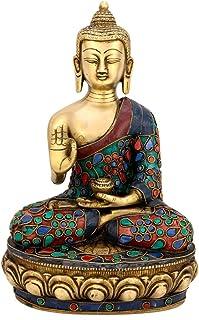 Fasherati Large Buddha Statue Lotus Sitting Blessing Idol Fine Carving Buddhism Religious Sculpture
