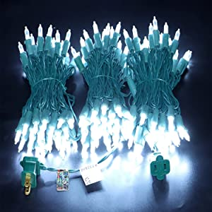 150 LED Cool White Christmas Lights, UL Certified Commercial Grade Always On 50 Feet Green Wire Lights Set, for Indoor Outdoor Party, Garden, Patio.