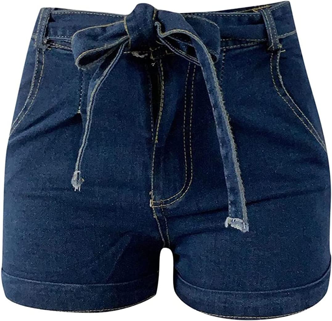 Women's High Waist Roll Up Lace Up Denim Shorts Skinny Stretch Fitted Shorts Jeans Classic Washed Distressed Jean Short-pant (Navy Blue,XX-Large)
