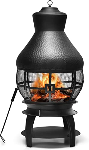 new arrival Giantex Wood Burning Chiminea, Heavy Duty Fireplace Wooden Chiminea Fire Pit with 2-Piece Log Grate, Premium Rain Cap wholesale & Fire Poker, 360°Fire Retardant Mesh new arrival Cover, Ideal for Garden, Patio, Backyard online sale