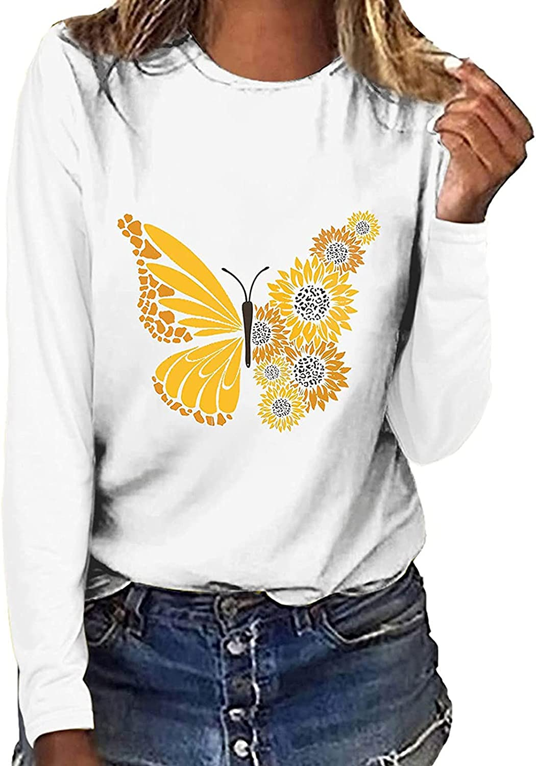 Womens Casual Sweatshirt Butterfly Sunflower Printing Blouse Tees O-Neck Loose Long Sleeve T-Shirt Tops