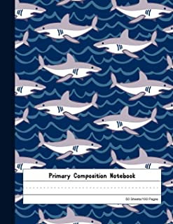 Primary Composition Notebook: Blank Story Journal with Picture Space And Dashed Lines   Kindergarten to Early Childhood Exercise Book   Navy Shark Pattern