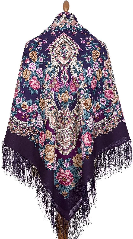 Pavlovo Posad Russian Shawl 100% Wool 57x57  146x146 cm Scarf Silk Tassels 180015