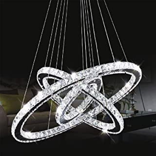 Ganeed Crystal Chandeliers,Modern Chandelier Lighting,Adjustable Pendant Lighting,LED Ceiling Fixtures,Contemporary 3 Rings Pendant Chandelier for Living Room Dinner Room Bedroom(Cool White)