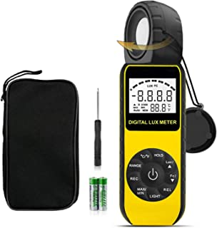 Digital Lux Light Meter,BT-881D Illuminance Meter with 270º Rotated Sensor, Measure Lights 0.1~400,000 Lux Light Tester for Indoor Outdoor LED Lights Plants Foot Candles