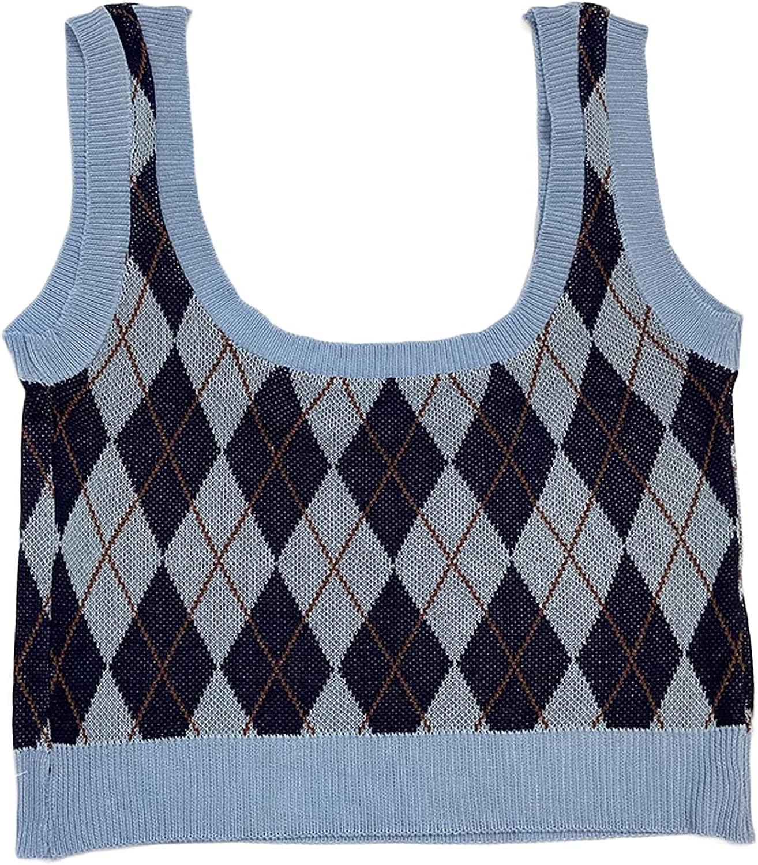 High Street U-Neck Classic Diamond Printed Sleeveless Sweater Vest Women's Autumn All-Match Slim Knit Cropped Top