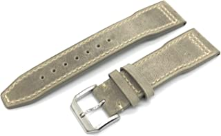 DGSTRAP 20mm Cow Leather Band Strap with Clasp Replacement fit for IWC Portuguese Top Gun Pilot Watches Small Short S Size (Vintage Light Gray)