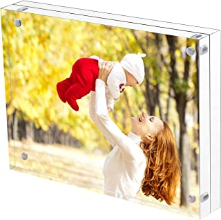 Sooyee 8X10 Acrylic Frame, Clear,Magnetic Photo Frame, Double Sided Frameless Standing in Desktop Picture Display,Pack of 1(10 + 10MM Thickness)
