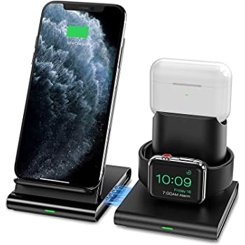 Seneo Caricatore Wireless, Caricabatterie Wireless 3 in 1 per iWatch Series 6/SE/5/4/3/2/1 e AirPods Pro/1/2, Ricarica Rapida Wireless da 7.5W per iPhone 12/11/Pro Max/XS/XR (Senza Cavo iWatch)