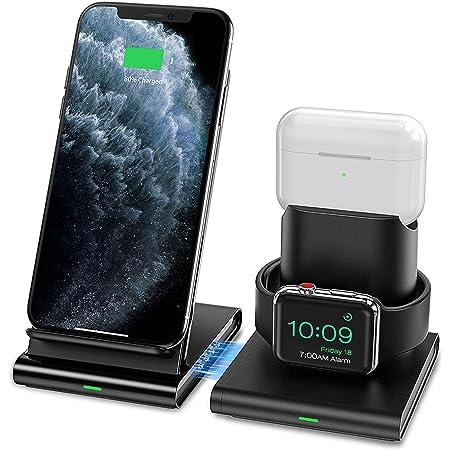 Seneo Caricatore Wireless, Caricabatterie Wireless 3 in 1 per iWatch Series 6/5/4/3/2/1 e AirPods Pro/1/2, Ricarica Rapida Wireless da 7.5W per iPhone 12/11/Pro Max/XS/XR (Senza Cavo iWatch)