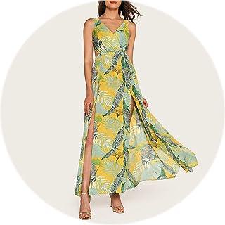 Waist V Neck Split Dress Women Long Elegant Sleeveless Maxi Dress Summer Beach High Waist Dress