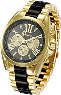 Fanmis Roman Numeral Black Dial Gold Plated Metal Nylon Link Analog Disply Watch - Black