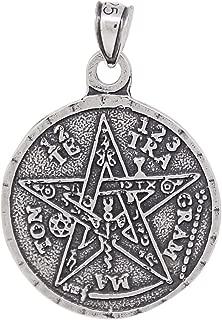 eJewelryPlus Sterling Silver Tetragrammaton Pentagram Pendant Medallion Oxidized