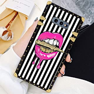 Square Case Compatible Samsung Galaxy S10e Pink Lips in Bullet Luxury Elegant Soft TPU Shockproof Protective Metal Decoration Corner Back Cover Case Galaxy S10e Case 5.8 Inch