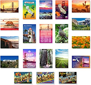 CALIFORNIA postcard set of 20 postcards. CA post card variety pack containing 20 different post cards. Made in USA.