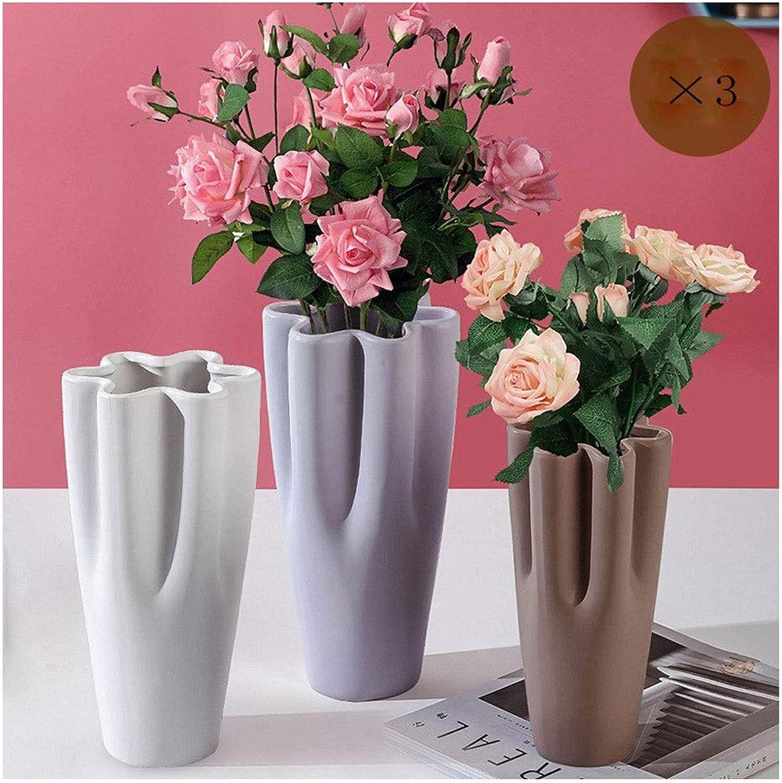 HUIQ en céramique fleur mini vase mate pétale bouche décoration de la maison hydroponique fleur créative décoration de la maison 3 pièce ensemble