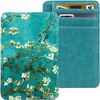 Kandouren Slim RFID Blocking Leather Front Pocket Wallet for Women & Girl,Money Clip,Credit Card Holder Case(Green Van Gog...