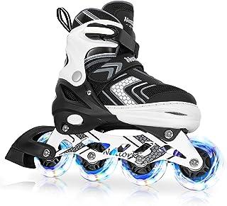 Nattork Adjustable Inline Skates for Kids and Adult with Light Up Wheel, Outdoor & Indoor Illuminating Roller Skates for G...