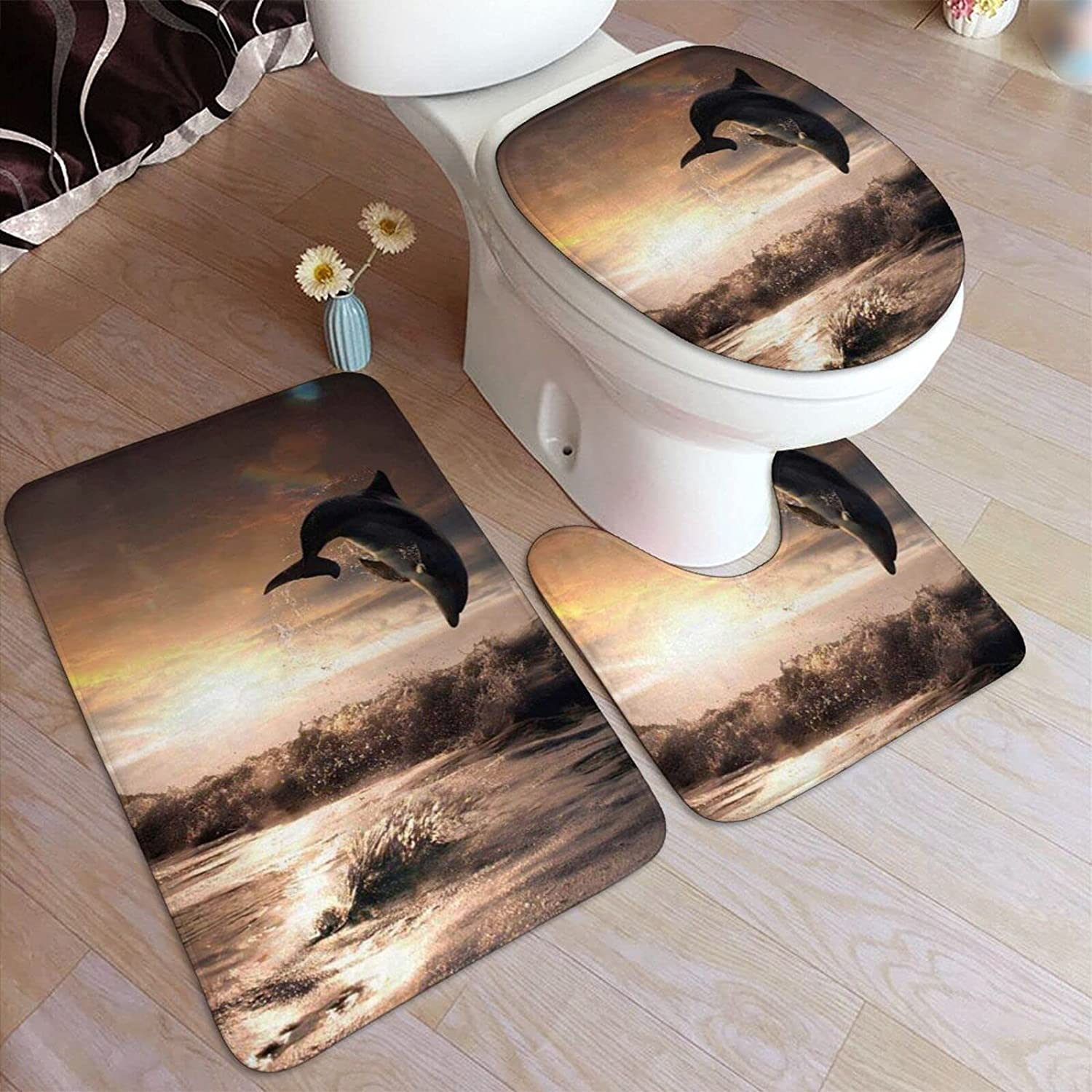 Beautiful Dolphin Limited time trial price OFFicial site Print Bathroom Rugs Fashion 3 Piece Anti-S Set
