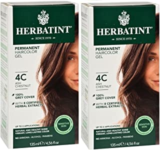 Herbatint 4C Ash Chestnut Permanent Haircolor (Pack of 2) Alcohol and Ammonia Free, 4.65fl oz Each