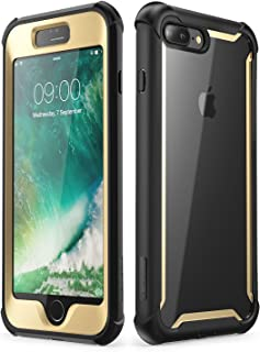 i-Blason Case for iPhone 8 Plus/iPhone 7 Plus, [Ares] Full-Body Rugged Clear Bumper Case with Built-in Screen Protector (Black/Gold)