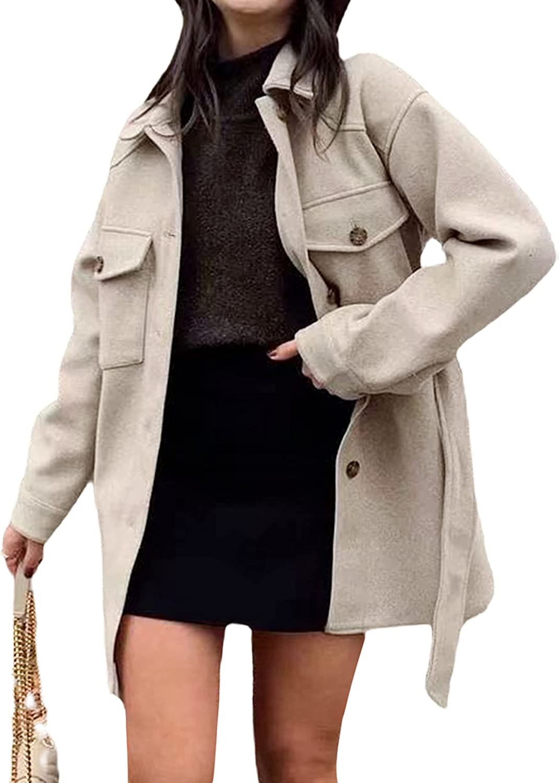 Yeokou Womens Casual Wool Blend Pea Coat Belted Vintage Winter Outwear Jacket Shacket