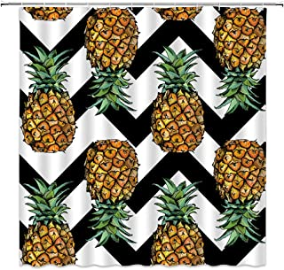 Pineapple Shower Curtain Tropical Exotic Fruit Black White Chevron Background Yellow Green Bathroom Curtains Decor Polyester Fabric Quick Drying 70x70 Inches Include Hooks