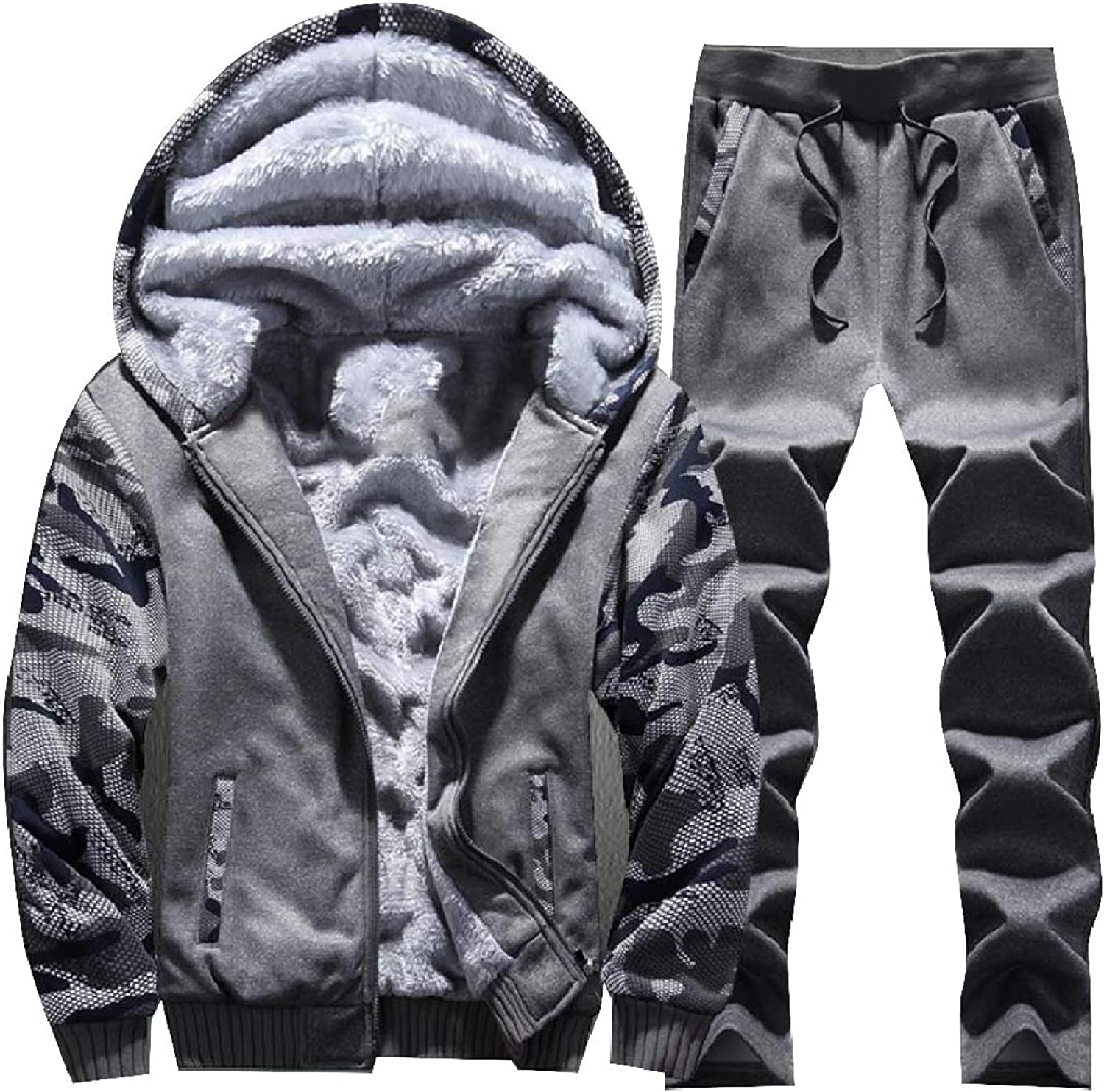 RkBaoye Men Fleece Multicamo Hoodie Thickened Zip Sport Sweat Suit Set