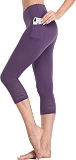 Women's Workout Running Capris Leggings Pocket Tummy Control High Waist Yoga Pants