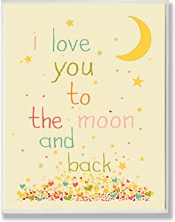 The Kids Room by Stupell I Love You to The Moon and Back Rectangle Wall Plaque, 11 x 0.5 x 15, Proudly Made in USA